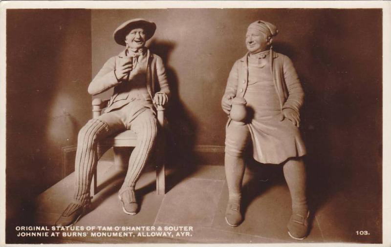 RP; Original statues of Tam O'Shanter & Souter, Johnnie at Burns' Monument, A...