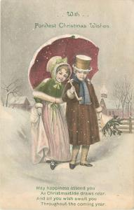 Christmas~Edwardian Couple Share Umbrella~Cape~Falling Snow~Wrapped Fir Branches