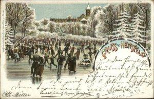 Ice Skating - Gruss Aus Hersfeld Germany 1898 Used Postcard