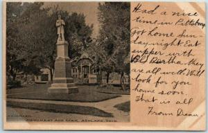 Ashland, Ohio Postcard Civil War Soldier's Monument Court House Park 1907 Cancel