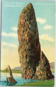Thumb Needle Columbia River Oregon rock formation Edward H. Mitchell postcard