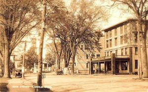 Lincoln ME Main Street Lincoln House Statue Old Cars Real Photo Postcard