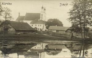 belarus, IWYE IWJE, Church Scene in Jewish Shtetl (1916) RPPC, Judaica