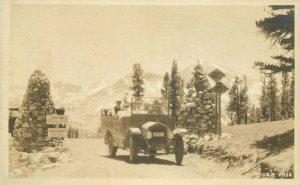 1920s Tioga Pass Mono California Tourist Bus Yosemite NP Entrance RPPC Postcard