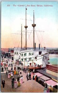 Vintage Venice, California Postcard The Cabrillo Ship Hotel Pier Scene c1910s