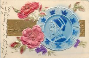 Dutch Lady on Blue Delft Plate~Poppies~Sailboats~Airbrushed~Gold~Emb~Germany