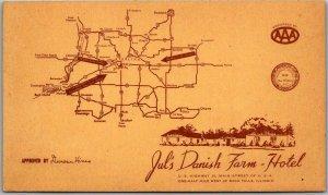 Rock Falls, Illinois Postcard JUL'S DANISH FARM HOTEL Highway 30 Roadside w/ Map