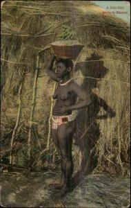 Zulu Girl Nude Going to Market Africa Black History Ethnography c1910 Postcard