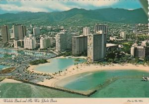Hawaii Oahu Aerial View Of Waikiki Beach and Ala Wai Yacht Basin