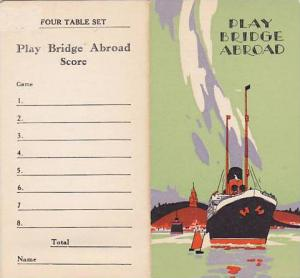 Bi-Fold With Attached Tickets, Play Bridge Abroad, S. S. Berengaria, PU-1927
