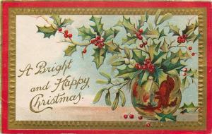 Christmas~Gilded Handle Jug Holds Mistletoe~Holly Berries~Red Border~Emboss