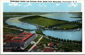 postcard  Washington Harbor and Potomac River, South from Monument