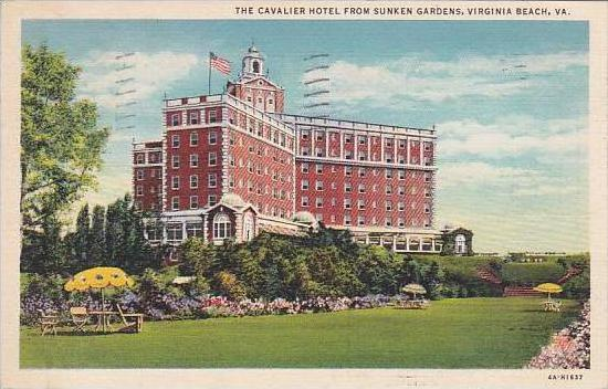 Virginia Virginia Beach The Cavalier Hotel From Sunken Gardens 1936