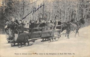 Buck Hills Falls Pennsylvania~Room for More~Horse Drawn Sleighbus~1940s Sepia PC