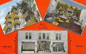 Little Rock Arkansas~Hotel Sam Peck~Inside Out~View Up Side~1940s Linen Postcard