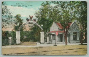 Quincy Illinois~Soldiers & Sailors Home Main Entrance~Gate Open~Eagle Above~1910