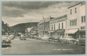 Granville New York~Main Street~Busy Downtown Shopping~1950s Cars~B&W Postcard