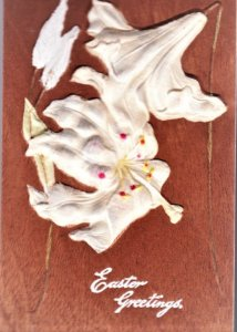 Unique Easter card wood with white Lilies added on