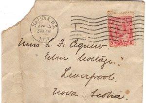 Canadian, Edward VII Stamp Cover Used 1911, Halifax, Nova Scotia