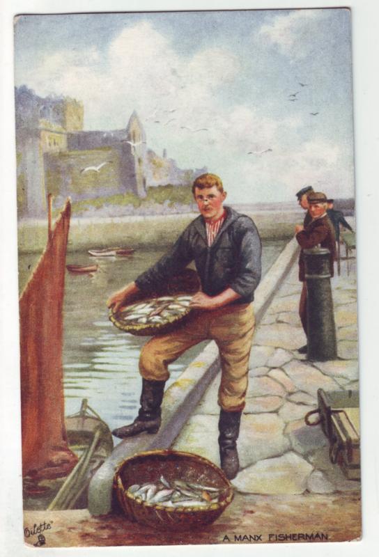 P1115 tucks oilette art the manx fisherman isle of man united kingdom