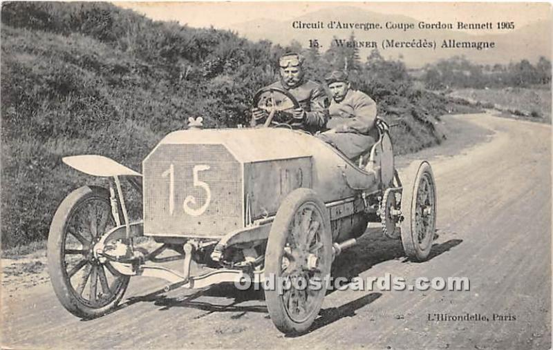 Old Vintage Auto Racing Postcard Post Card Auto Racing Postcard Circuit d'Auv...