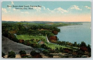 Traverse City Michigan~Shore Along Grand Traverse Bay~Farm~Orchard~c1910