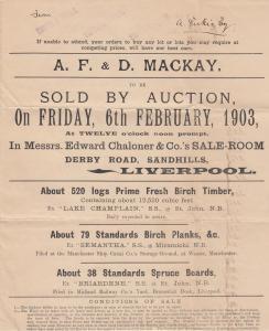 LIVERPOOL, UK, 1903 ; AF&D Auction handout , Birch Logs, Timber, Planks, Boards