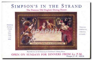 Old Postcard Simpson's in the Strand The Famous Old English Dining House Repr...