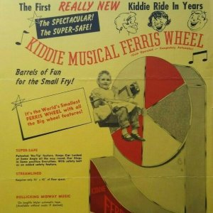 Kiddie Musical Ferris Wheel FLYER Original Amusement Ride Art 1950's Capitol