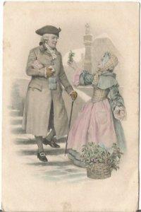 Austrian Gentleman Traveler and Lady in Pink dress offering holy sprig Austria