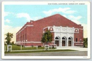 Garden City Kansas~High School Auditorium~Triple Arch Doors~1931 Postcard