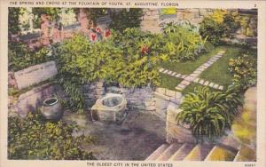 Florida Saint Augustine The Spring and Cross At The Fountain Of Youth The Old...
