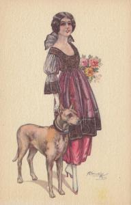 CHERUBINI ; Art Deco Female Portrait with Dog , 1910s #3