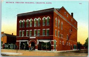 Chanute, Kansas Postcard HETRICK THEATRE BUILDING Downtown Street Scene 1911