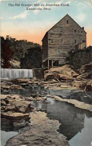 G23/ Zanesville Ohio Postcard 1913 Old Granger Mill Jonathan Creek