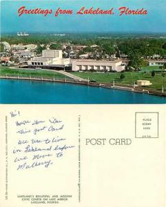Civic Center, Greetings from Lakeland, Florida, FL, Chrome