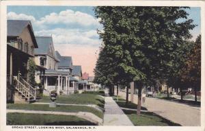 SALAMANCA, New York; Broad Street, Looking West, PU-1920