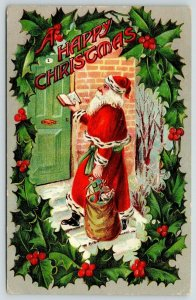Christmas~Old Style Santa at Door~Ermine Trim~Holly Wreath Border~Emboss~Germany