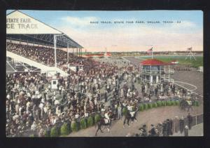 DALLAS TEXAS STATE FAIR HORSE RACING RACE TRACK VINTAGE POSTCARD