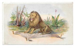Victorian Trade Card Huntington Pianos Lion and the Mouse