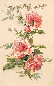 Pink Roses~Full Bloom Arrangement~Rosebuds~Gold Leaf Emboss~Tan Back~Germany