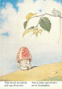 German Fantasy Art Postcard 9224 Von Lampe, Mushroom Man, Klein bin Ich unposted