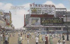 New Jersey Atlantic City Crowd On Boardwalk Showing Steel Pier