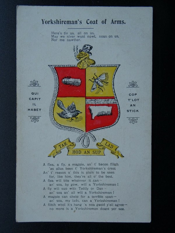 Yorkshire THE YORKSHIREMAN'S COAT OF ARMS TAK HOD AN SUP LAD - Old Postcard
