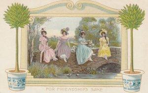 5 Art Nouveau Women Postcards , 00-10s