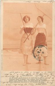 Vintage 1903 women fishing nets PECHEUSES Albert Brice poem