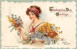 Artist Frances Brundage Thanksgiving Greetings 1912 light postal marking on f...