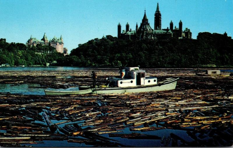 Canada Ottawa Sorting Pulpwood Logs In The Ottawa River
