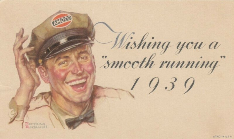 NORMAN ROCKWELL , 1939 ; AMOCO Gas Company attendant