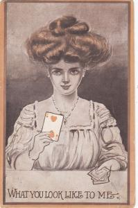 COMIC; Woman hold playing card 2 of Hearts , 1909
